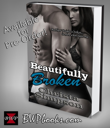 Beautifully Broken by Christa Simpson. BWPbooks.com white 3d book