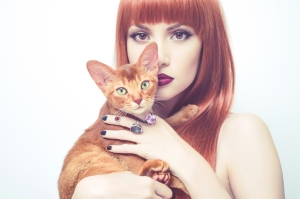 Beautiful Lady With Abyssinian Cat