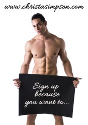 Naked Young Male Bodybuilder Holding Blank Board
